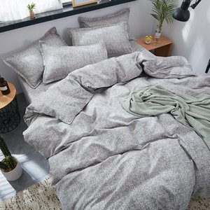 3 / 4pcs conjuntos de cama Breve Aloe Cotton Grey Estilo Duvet Cover Plano Folha de cama Consolador Lençois Set Com fronha Home Textile