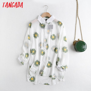 Tangada women floral print transparent blouse long sleeve oversized shirts female chic tops 6D15