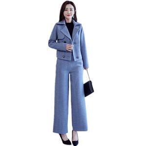 Mode Automne Nouveau Woollen Set Femmes Plus Size Casual double boutonnage manteau court + Wide Leg Pants Two Piece Set Femmes Tide D3358