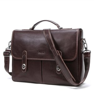 15.4 Inch Computer Genuine messenger office bags for men Leather Business Affairs Briefcase More Function Cowhide Male Package