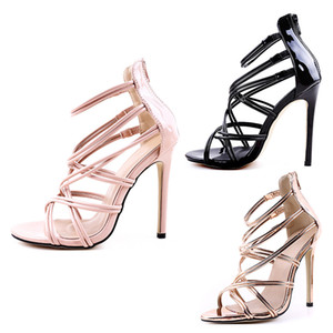 2020 talones diseñador de la venta zapatos de mujer boca hueco peces correa cruzada al por mayor de tacón alto 11cm mujeres de las sandalias de tamaño grande 35-43 oro negro rosa