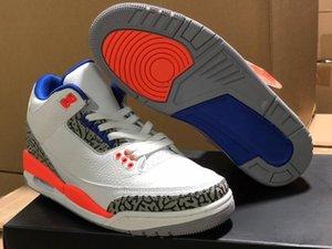 Sıcak Satış 3 Knicks Man Basketbol Tasarımcı Ayakkabı Beyaz Eski Kraliyet Üniversitesi Turuncu Teknik Gri III Moda Sneakers İyi Kalite Rakipler