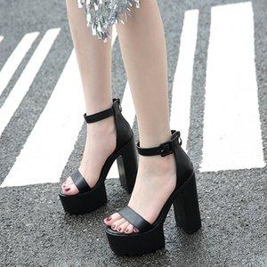 Gladiator Sandals Women Vintage Rome Buckle Punk Rock Gothic Chunky Block Square Super High Heel Sandal 2020 Summer Shoe LJB160