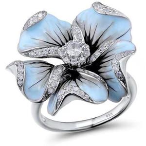 Fashion Silver Enamel Big Flower Wedding Rings for Women Unique Swan Cubic Zirconia Engagement Ring Female Party Boho Jewelry
