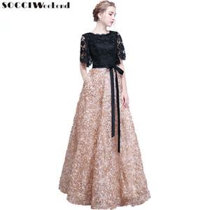 Fin de semana socci elegante madre de la novia vestidos de encaje negro flores formales vestido de fiesta vestido de noche robe de soiree sh190708