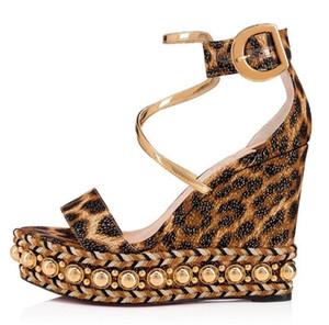 Sexy Léopard Motifs Plate-forme Wedge Femmes Sandales Chaussures De Luxe Rouge Bas Chocazeppa Espadrille Dames À Talons Hauts Sandales Gladiateur