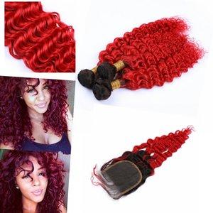 """Ombre Remy brasileño paquetes de pelo con el encierro 4"""" * 4"""" ombre color # 1B / # 613 de la onda profunda del pelo ombre Bundle con el encierro"""