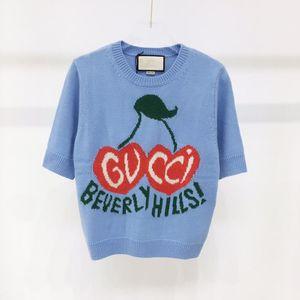 high-end de luxo de verão Flor de cerejeira azul bordado de lãs completa em torno do pescoço de marca de moda das mulheres camisola de malha blusa de mangas curtas