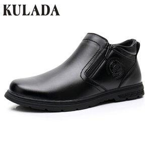 KULADA новый Мужская обувь двойной молнии сторона кожаные сапоги мужчины удобные повседневная загрузки мужчины AutumnWinter теплые ботинки 0903-1A