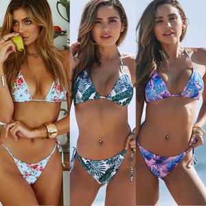 Bind Impreso cuello colgaba la ropa interior atractiva del vendaje de las mujeres push-up con relleno de bikini traje de baño determinado del traje de baño del bañador Lote