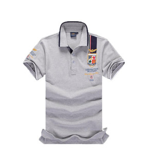 2019 оптом и в розницу бесплатный транспорт мужская футболка поло с короткими рукавами вышивка футболки красочные тройники мужские футболки поло плюс размер S-6XL