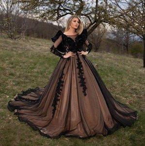 빈티지 고딕 양식의 Hallowen 레이스 공주 웨딩 드레스 플러스 사이즈 오프 숄더 긴 소매 성 채플 기차 신부 웨딩 드레스