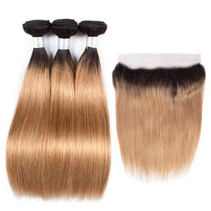 Renk 1B / 27 Perulu Düz Ombre Demetleri ile Dantel Frontal Malezya Hint Brezilyalı Virgin İnsan Saç Dokuma 3 Demetleri ile Kapatma 13 * 4