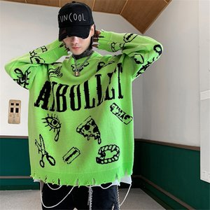 Knitted Sweaters Men Hip Hop Loose Pullover Letter Printed Sweater Streetwear Male WinterClothing Coat
