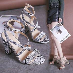Mini2019 chaussures à talons hauts Snake Grain Femme Hasp Rome grossière avec des sandales 43 Code