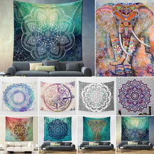 150 * 200cm Indian Mandala Tapestry Totem Compass Mandragora impression Elephant Serviettes de plage tapis de yoga Sun Block Round Bikini Cover-Up Couverture