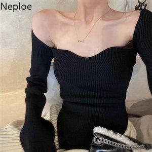 Neploe Maglione primavera 2020 sexy senza spalline maniche lunghe signore Pullover Fashion Casual collare quadrato Top Femminili 1A314