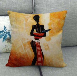 DHL 45*45cm Ethnic Style Tribal linen Pillow Cases Decorative Printing African Women Throw Pillow Case for car sofa Cushion cover nd