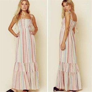 Платья Повседневный женщин лета конструктора платья Цветочные печатных женские платья богемских Модные Спагетти ремень Beach Vacation