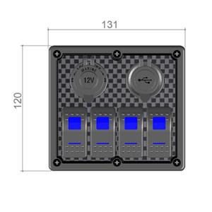 Wasserdicht 4 Gang Rocker Switch Panel Dual USB Ladegerät Sockel cigaretter Feuerzeug mit LED-Licht für Boots-Marine-