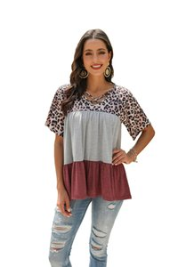 Designers Women Leopard Summer Tees Fashion V Neck Panelled Ladies Shirts Casual Short Sleeved Females Tees