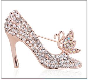 Multi-cores cristal Pedrinhas sapatos de salto alto broche por Mulheres