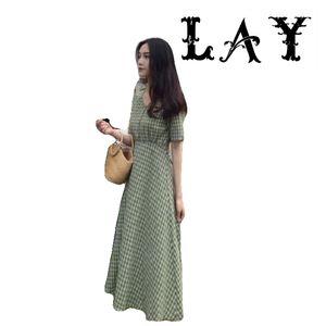 Long dress women 2020 summer vestidos vintage harajuku artistic elegant plaid v-neck cotton casual green a-line plus size dress