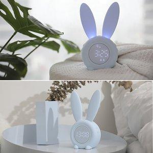 Orelha bonito Alarm LED Digital Relógio Eletrônico USB Som Noite Lamp Control Desk Clock Decoração Início