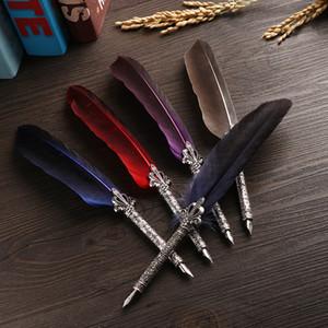 1 Conjunto multicolor retro Quill Dip pluma pluma de Turquía pluma de canilla oblicua + 5 + Semillas Juego de regalo de la redacción Oficina de la Escuela de Suministro
