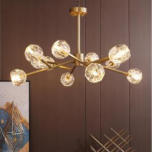 Modern American tutto il rame lampadario di cristallo di illuminazione e pranzo arte Gold Room Lustre Cucina molecolare Hanging portato G9 Lampade