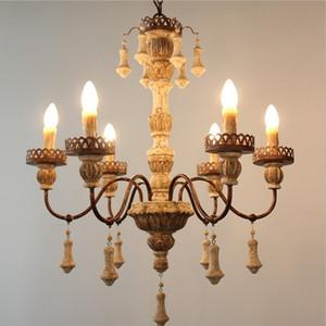 Lámpara de madera de la vendimia del hierro de la vendimia Lampadario Sala Lámparas de techo para Vintage Home Decor Diseño nórdico Lustres