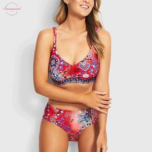 Sexy Swimsuit High Waist Bikini 2020 Womens Swimming Suit Separate Two Pieces Swimsuits Push Up Bikini Set Floral Plus Size