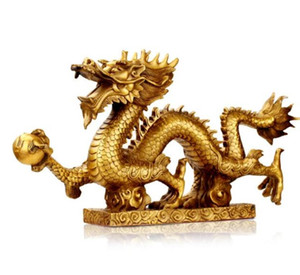 Crafts Copper Bronze Brass May Wealth Come Generously to You The copper dragon Hanlong base twelve zodiac Lucky Dragon copper decorations