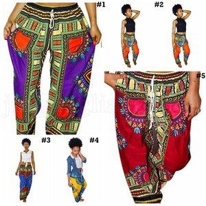 Bohemia Digital Printed свободные брюки женщин африканских Винтажная Ankara Брюки Summer Карман Повседневный Wide Leg Брюки OOA6909