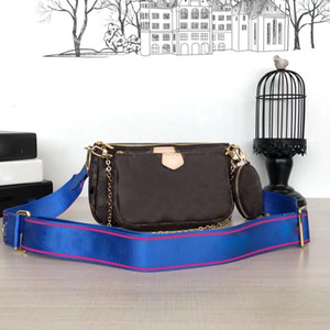 Bolsos de las mujeres bolsos favoritos 3pcs pochette accesorios de Crossbody del vintag bolsos de hombro de cuero m44823 oxidante 4 colores correas