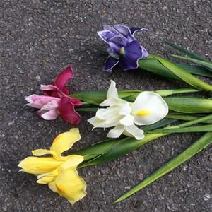 Iris Flor artificial de la PU del iris real tacto Flores del ramo de la mano del partido Bodas Decoración Floral Hotel la decoración del hogar