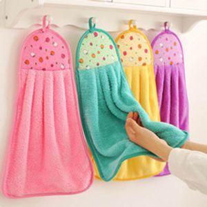 Dibujos animados baño Suministros mano suave Wipe toalla para colgar paños de tela toalla absorbente colgantes de tela libre de pelusa para accesorios de cocina
