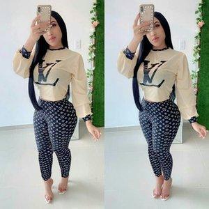 Mulheres designer de camiseta duas peças terno manga comprida camiseta tops + calças leggings agasalho marca roupas outono sportswear menina terno roupas