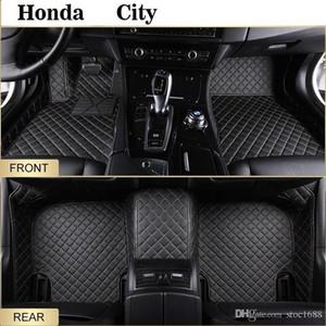 SCOTABC Custom Fits-Black Car Foot Pads All Weather Leather Floor Mats for Honda City,Waterproof Anti-slip 3D Front & Rear Carpets