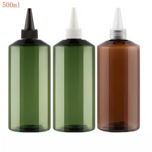 20pcs 500ML bottiglia di plastica marrone a punta Caps Bocca verdi, 500CC Jam / cosmetica Acqua Imballaggio Bottiglia, Svuotare contenitore cosmetico
