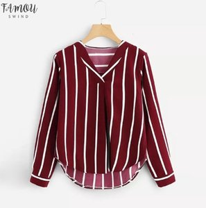 Girl V Neck Stripe Shirt Women Casual Autumn Long Sleeve Irregular Blusas Polyester Fashion Female Long Sleeve V Neck Striped Top T