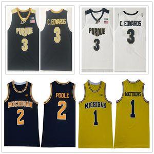 2019 NCAA Purdue Boilermakers # 3 Carsen Edwards Jersey Michigan Wolverines # 1 Charles Matthews # 2 Poole Basket maglie universitario cucita
