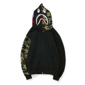 2019 New Teenager Hip Hop Loose Cardigan Streetwear Felpe da uomo Fashion Sleeve Camo Cartoon stampa giacca maglione