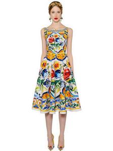 I vestiti dalle donne Nuovo design di lusso Slash collo maniche femminile della pista di Milano Dress Flore stampato abiti Vestidos De Festa P158