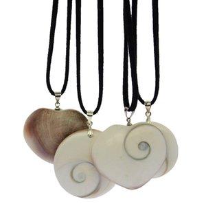 Moda natural abalone shell joyería bricolaje blanco abulón cuerda de cuero colgante collar
