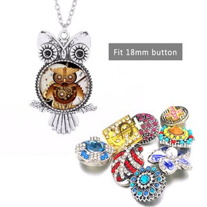 Hot Interchangeable Owl Crystal Ginger Necklace 038 Fit 18mm Snap Button Pendant Necklace Charm Jewelry For Women Gift