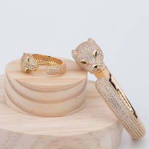 European and American Asian gold diamond leopard head bracelet full of zircon platinum personality bracelet for women