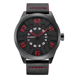 Único de la manera digital grande Relojes Para Hombre hombres ocasionales de los relojes del cuarzo marca de lujo CURREN correa de cuero Con Fecha