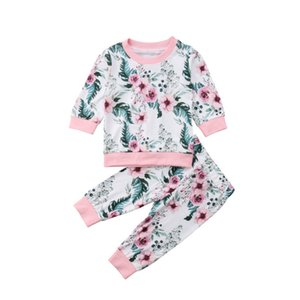 Newborn Kids Baby Girls Flower Cotton Outfits Sets Long Sleeve Floral Tops + Pants 2PCS Autumn Winter Outwear Sets Clothes