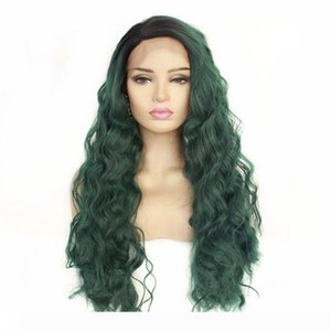 New Trendy Fashion Ombre Lace Front Wig Long Curly Wavy Dark Roots Ombre Green Soft Fiber Hair Heat Resistant Synthetic Wigs For Women
